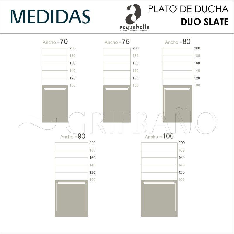 Tamanos Platos De Ducha.Plato Ducha Resina Acquabella Duo Slate Acquabella