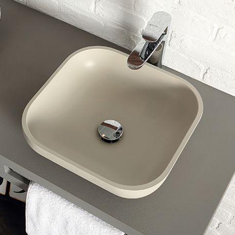 Lavabo resina sobre encimera on top square acquabella - Lavabos de resina ...