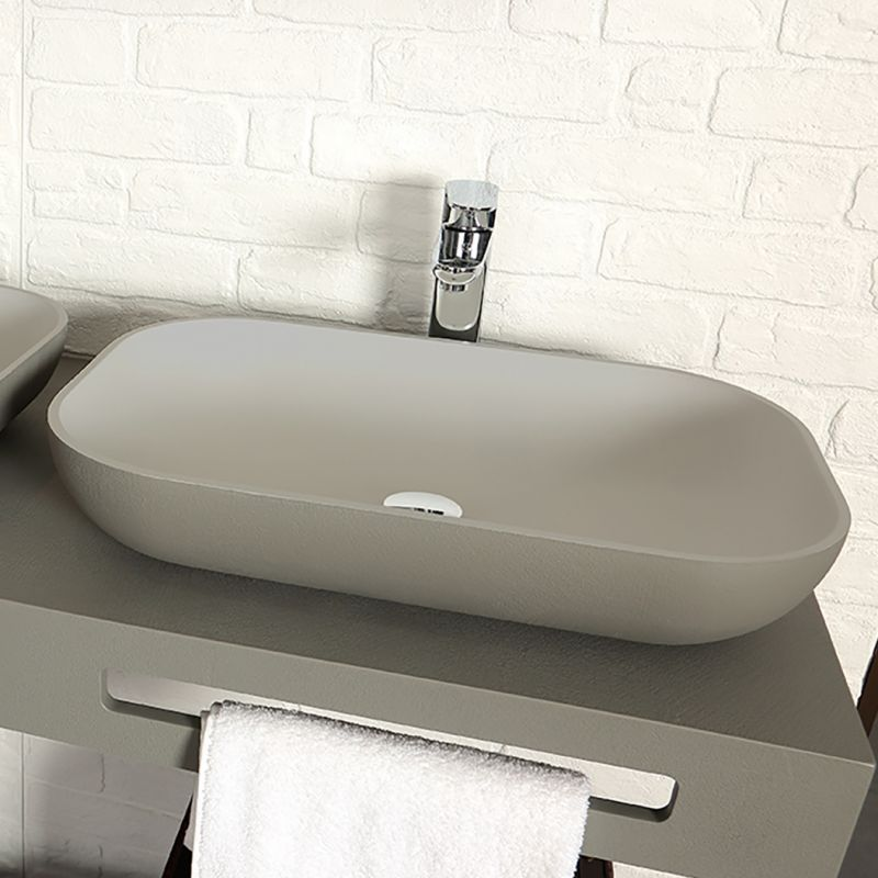 Lavabo resina sobre encimera on top rectangle acquabella - Lavabo rectangular sobre encimera ...