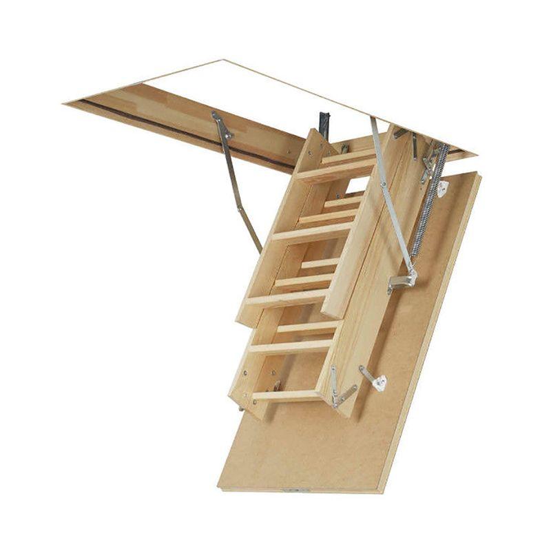 Escalera escamoteable de tramos de madera lws smart fakro for Escaleras de madera de dos tramos
