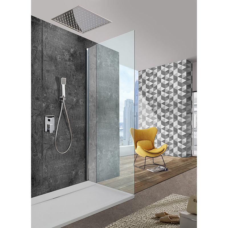 Rociador ducha a techo imex cuadrado 30x30 cm cromo for Rociadores ducha empotrados techo