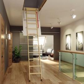 Escalera escamoteable de tramos de madera LWK KOMFORT - Fakro