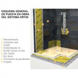 Refuerzo esquinas interiores impermeabilización duchas DRY50 CORNERIN