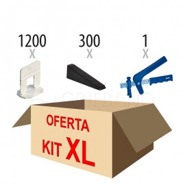 Kit XL nivelación cerámica (1200 calzos + 300 cuñas + alicate)
