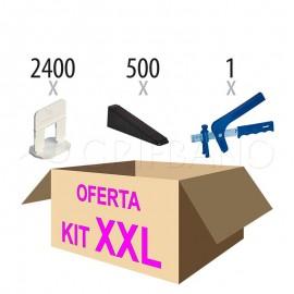 Kit XXL nivelación (Oferta: 2400 calzos + 500 cuñas + alicate)