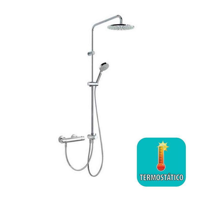 Conjunto ducha termost tico eco cromo 190385 tres for Monomando termostatico ducha