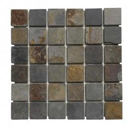Malla Mosaico Piedra Natural MOS-008 MULTICOLOR 5x5 - Tercocer