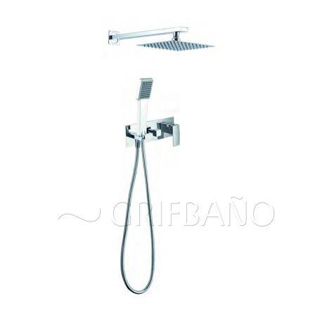 Monomando ducha emp. c/inv. y soporte IMEX cuadrado cromo - GN011