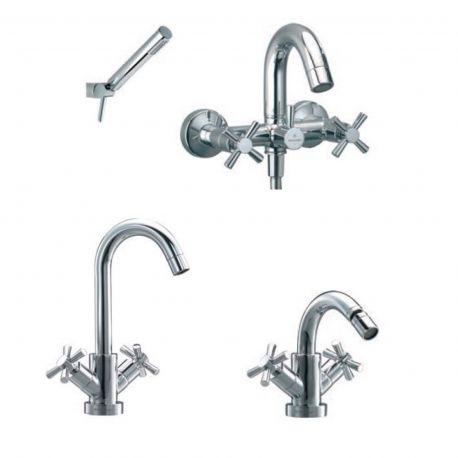 Conjunto grifería baño-ducha + lavabo + bide ILIADA cromo
